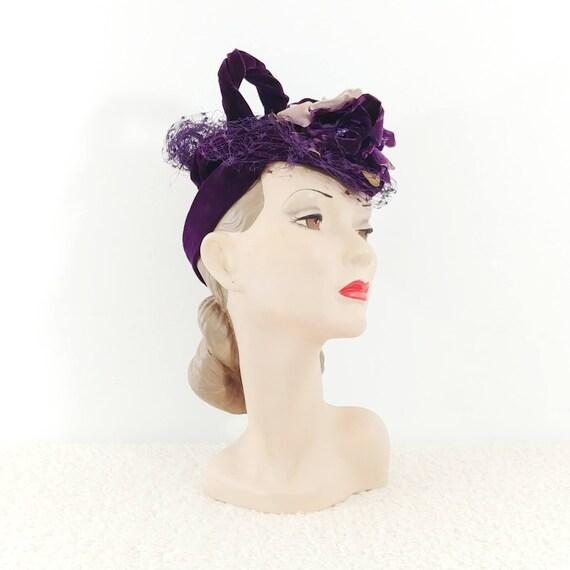 Vintage 1930s Purple Velvet Hat | 40s Velvet Hat … - image 4