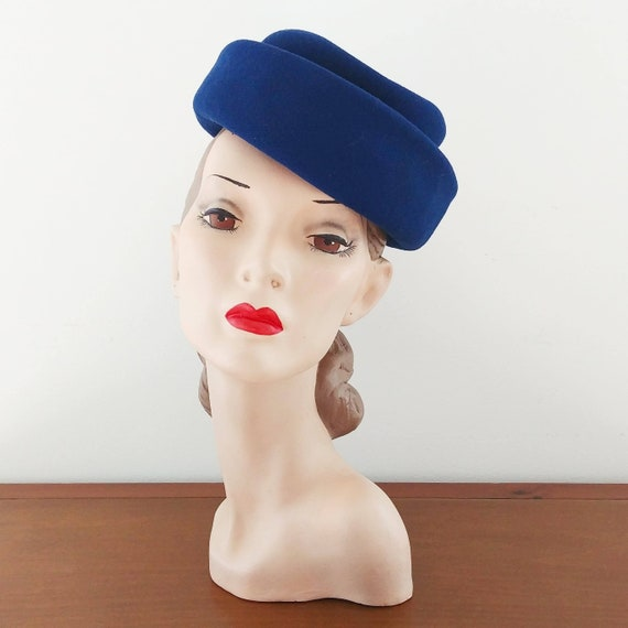 Vintage 1950s Pillbox Hat | 50s Blue Hat | 1950s B