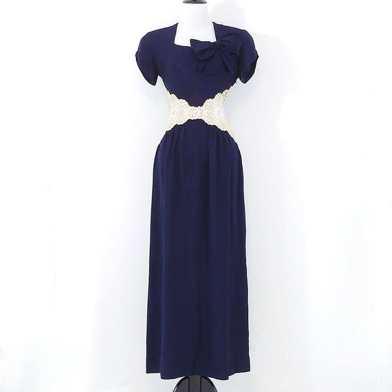 Vintage 1940s Lace Midriff Gown | 40s Navy Blue D… - image 2