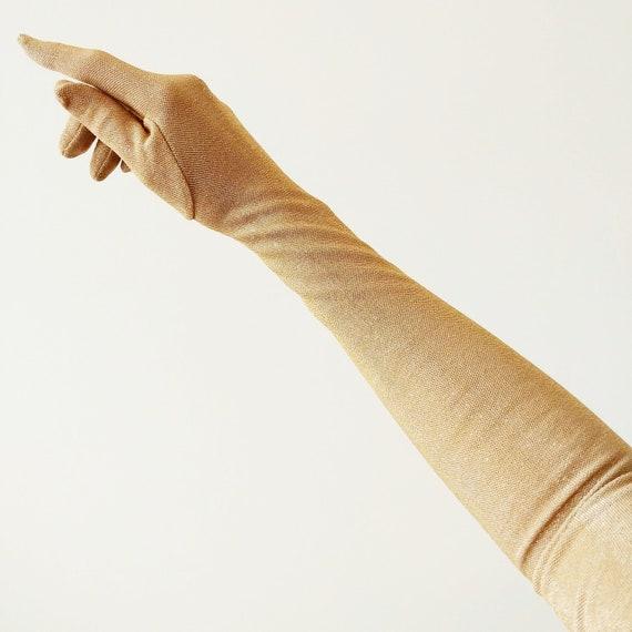 Vintage 1950s Gold Lurex Gloves | 50s Over The Elb