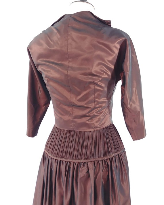 Vintage 1950s Sharkskin Taffeta Dress Set | 1940s… - image 9