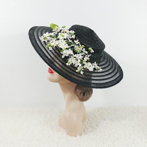 Vintage 1940s Wide Brim Hat | 1950s Large Hat | 40