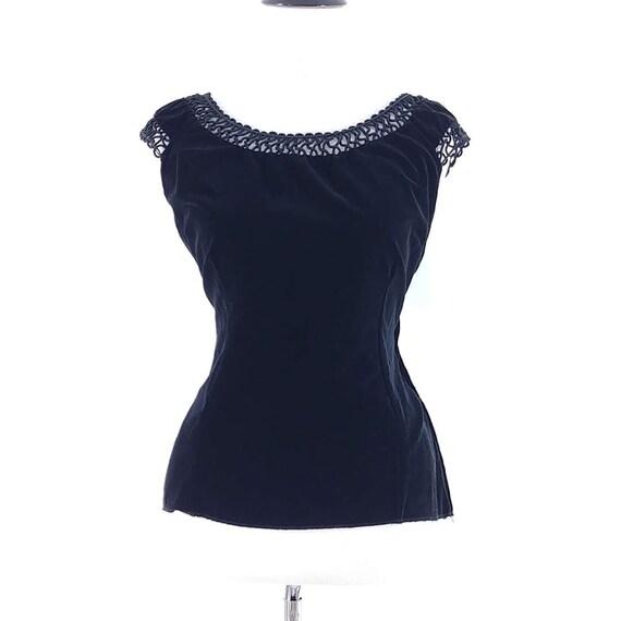 Vintage 1950s Black Velvet Top | 50s Top | 50s Blo