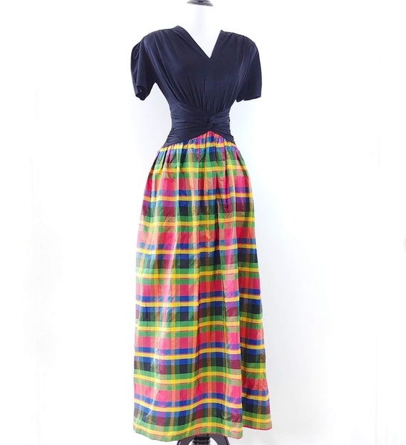 Vintage 1930s 1940s Rayon Jersey Plaid Gown | 40s… - image 4