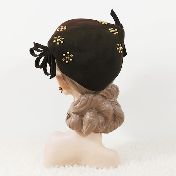 Vintage 1940's Studded Hat | 40s Brown Hat | 40s S