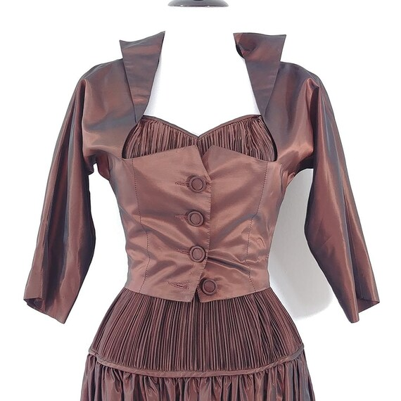 Vintage 1950s Sharkskin Taffeta Dress Set | 1940s… - image 3