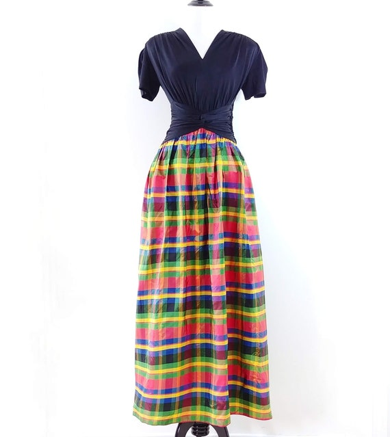 Vintage 1930s 1940s Rayon Jersey Plaid Gown | 40s… - image 2