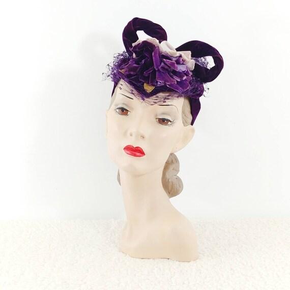 Vintage 1930s Purple Velvet Hat | 40s Velvet Hat … - image 1