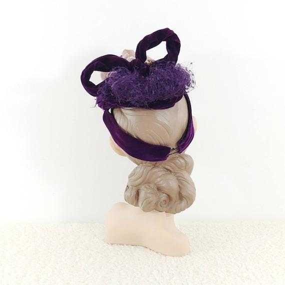 Vintage 1930s Purple Velvet Hat | 40s Velvet Hat … - image 5