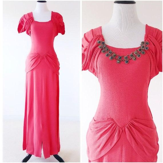 Vintage 1940's Coral Crepe Gown | Vintage 1940s Go