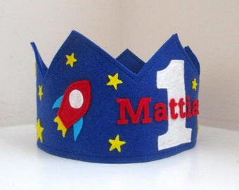 Felt Birthday Crown, Space Birthday Crown, Wool Felt Crown, Rocket Ship, Stars, Space Birthday, Boy Crown