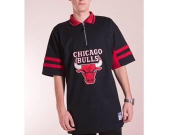 73697f581 Chicago Bulls jersey•90s hip hop clothing•Vintage swoosh sport t-shirt•Hip  hop jersey•Swag Rewind jersey•90s jersey•Chicago Bulls polo