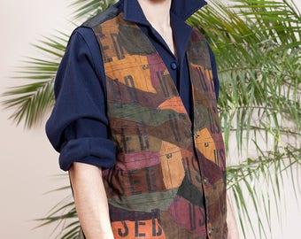 Men's Vest•Men's Leather Vest•Brown Leather Waistcoat• Suede Gilet Vest•Hippie clothing•Mens Sleeveless  jacket•vintage clothing•Grunge vest