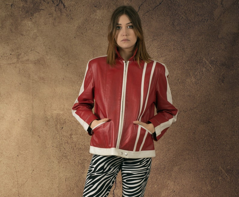 Vintage clothing by Miauhaus Vintage 90s womens real red and white Pulp Fiction style leather biker jacket