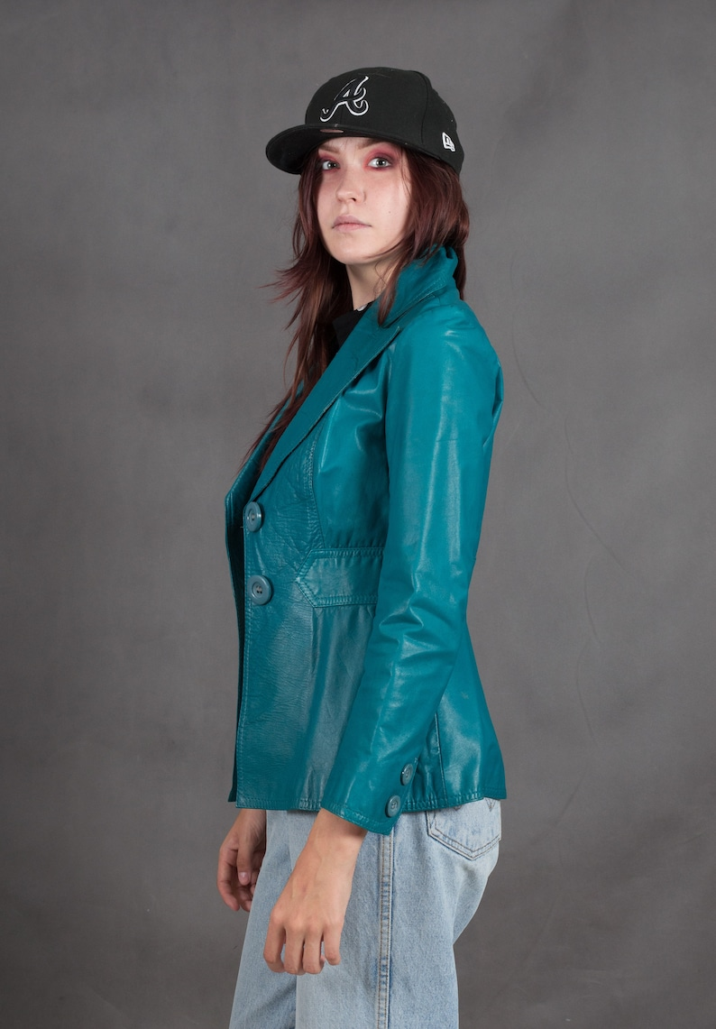 Vintage 70s women/'s fitted teal rel leather women/'s blazer jacket \u2022 vintage clothing \u2022 Vintage clothing XXSXS