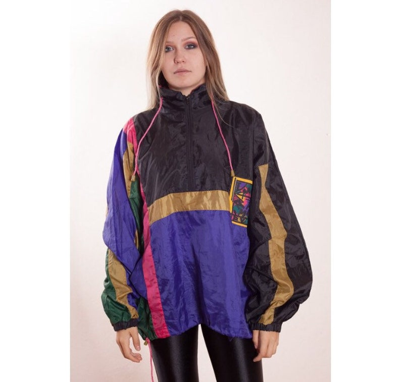 Vintage 90s Rain jacket • Anorak • 90s hip hop windbreaker • hip hop  clothing • Vintage clothing