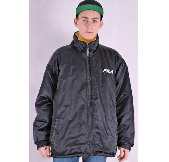 Vintage unique reversible men's Fila jacket. Minimalistic modern style, two sides jacket.