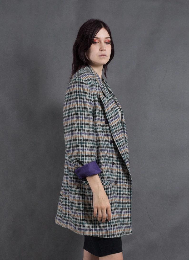 Vintage 90s checkered jacket \u2022 Womens boyfriend plaid blazer \u2022vintage clothing \u2022 Vintage clothing