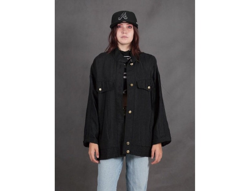 Vintage 90s women/'s black long sleeve button up jacket \u2022 Vintage clothing \u2022 Womens oldschoold shirt