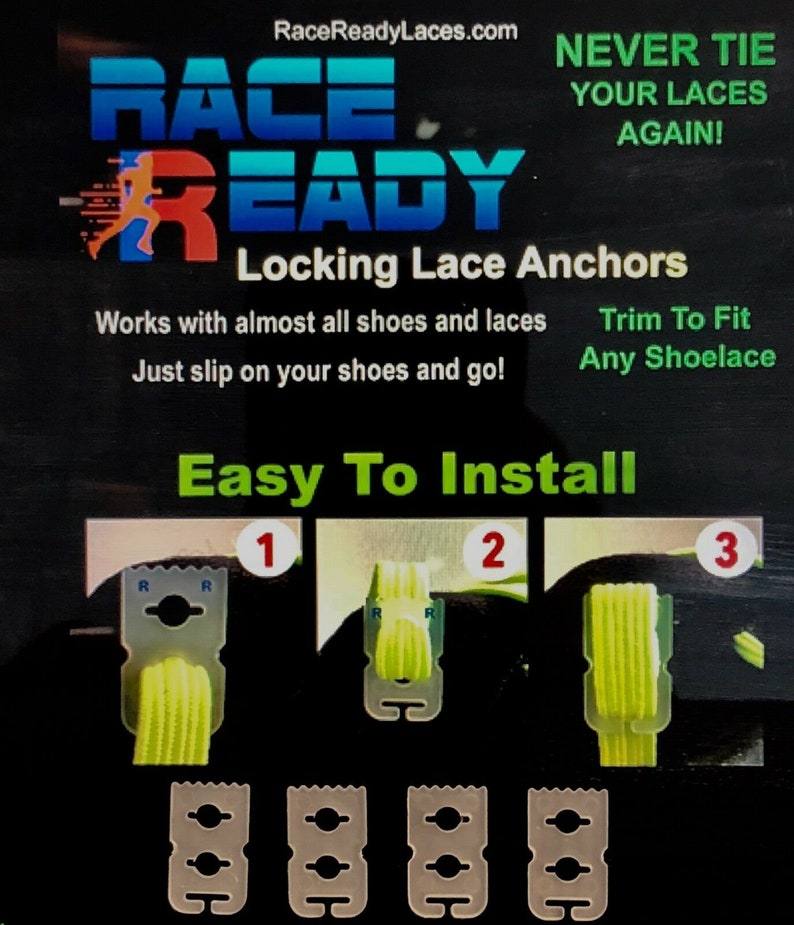 4 Race Ready...Shoe Lace Anchors...Never Tie Your Shoes Again!...Easy to Install