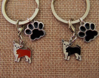 Chihuahua  Keyring Gift Box available Key ring with a dog Solid key pendant Gold plated keychain