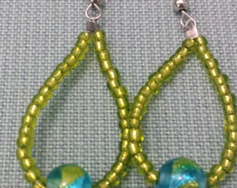 Lime green and turquoise earrings