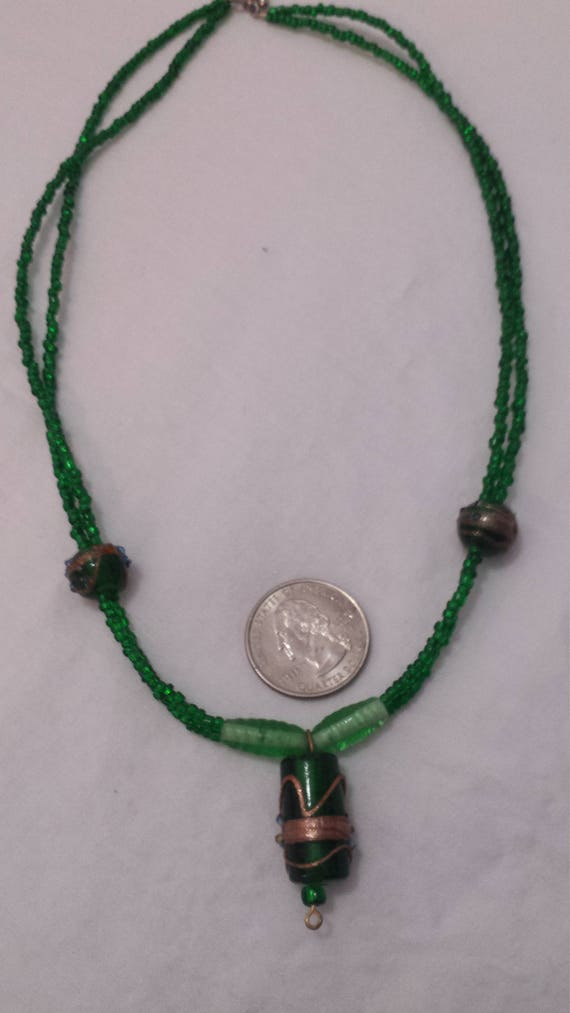 Vegetable Bead Necklace Birthday Gift Black Green beaded necklace Luck Necklace Leprechaun necklace