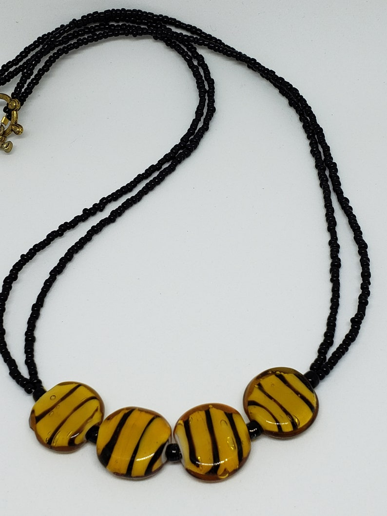 classic necklace Animal print jewelry glass necklace tiger print necklace beaded necklace wear to work neutral necklace