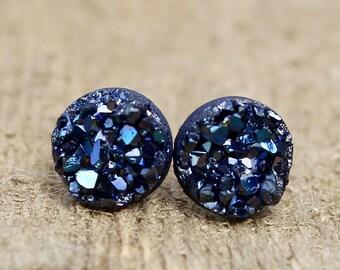 Druzy Earrings.  Navy Blue druzy earrings.  Bridesmaids gift idea.