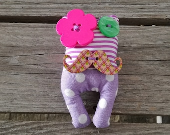 Lavandillo brooch with adorable pink moustache and flower button