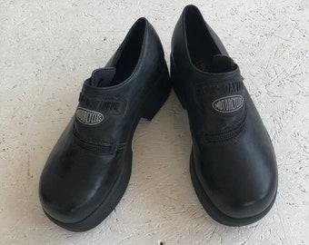 09d28c261e21e3 Vintage schwarze Lethaer Harley Davidson Plattform Schuhe   Größe EUR 38
