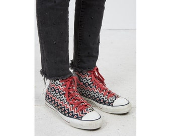 2f4b7fe820d7d1 Vintage Women s Pink Navy CONVERSE Casual Athletic Knit Hi-Tops Trainers  Shoes  Size UK 7.5