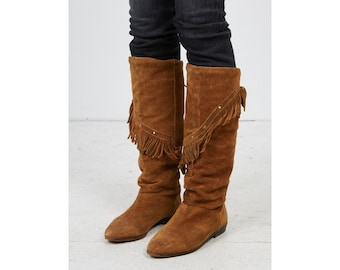 c10ad759e5e6 Vintage Women s Stunning Brown Autumn Winter Shearling Lining Suede Fringe  Long Boots Shoes  Size EU 38
