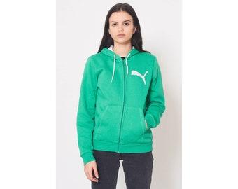 Vintage Green PUMA Track Hood Jacket  Size S b517bc5b92d6d