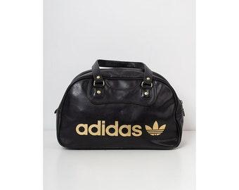 more photos b3b27 e8c84 Vintage Black ADIDAS Faux Leather Hand Shoulder gym Bag