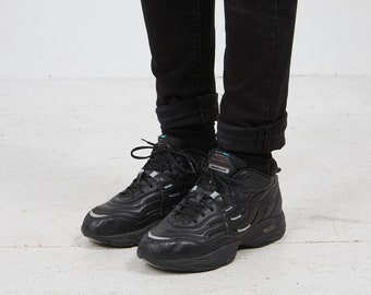 c8b2b2fa78bd Vintage Black REEBOK Casual Athletic Old School Faux Leather Trainers  Sneakers Shoes/ Size UK 6.5