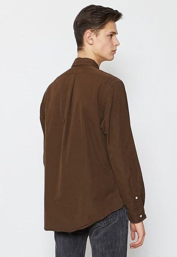 ... Vintage marron POLO RALPH LAUREN manches Long chemise manches LAUREN    taille Large d551ce c59c172c4bf5