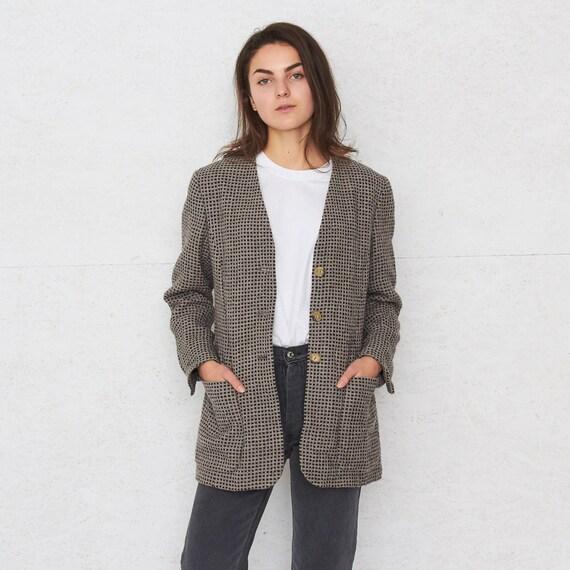 Vintage Brown BERND BERGER Suit Button Closure Blazer Checkered Jacket