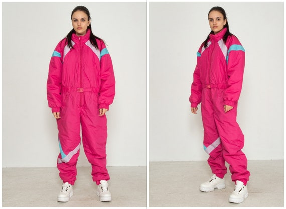 Vintage Pink Snowsuit Skiing Tracksuit One-Piece/