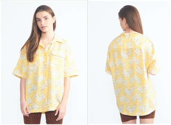 Vintage 1970s Blouse Floral Print Womens Blouse Jersey Blouse Lined Womens Shirt Short Sleeves Top Medium Size