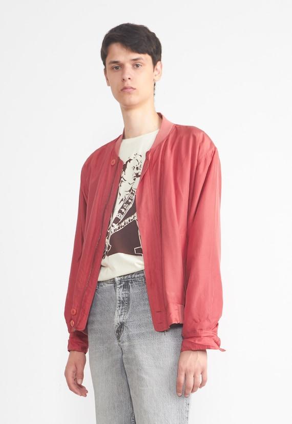 Vintage LEADER Red Silk Bomber Jacket/ Size L - image 2