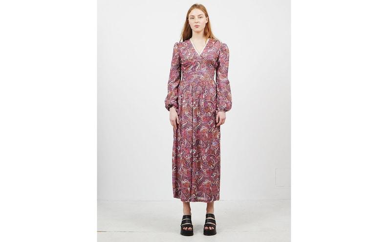 f184f6cdd5605 Vintage Pink Purple Long Sleeve V-Neck Sparkly Maxi Dress/ | Etsy