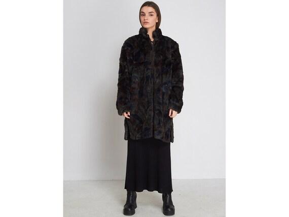Vintage Multi Color LEAS Faux Fur Coat/ Size S