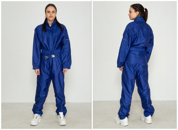 Vintage Blue Snowsuit Skiing Tracksuit One-Piece/