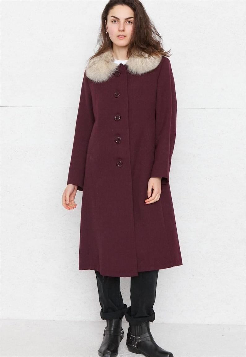 search for original online for sale outlet store sale Vintage Purple Burgundy Faux Fur Coat/ Size Medium