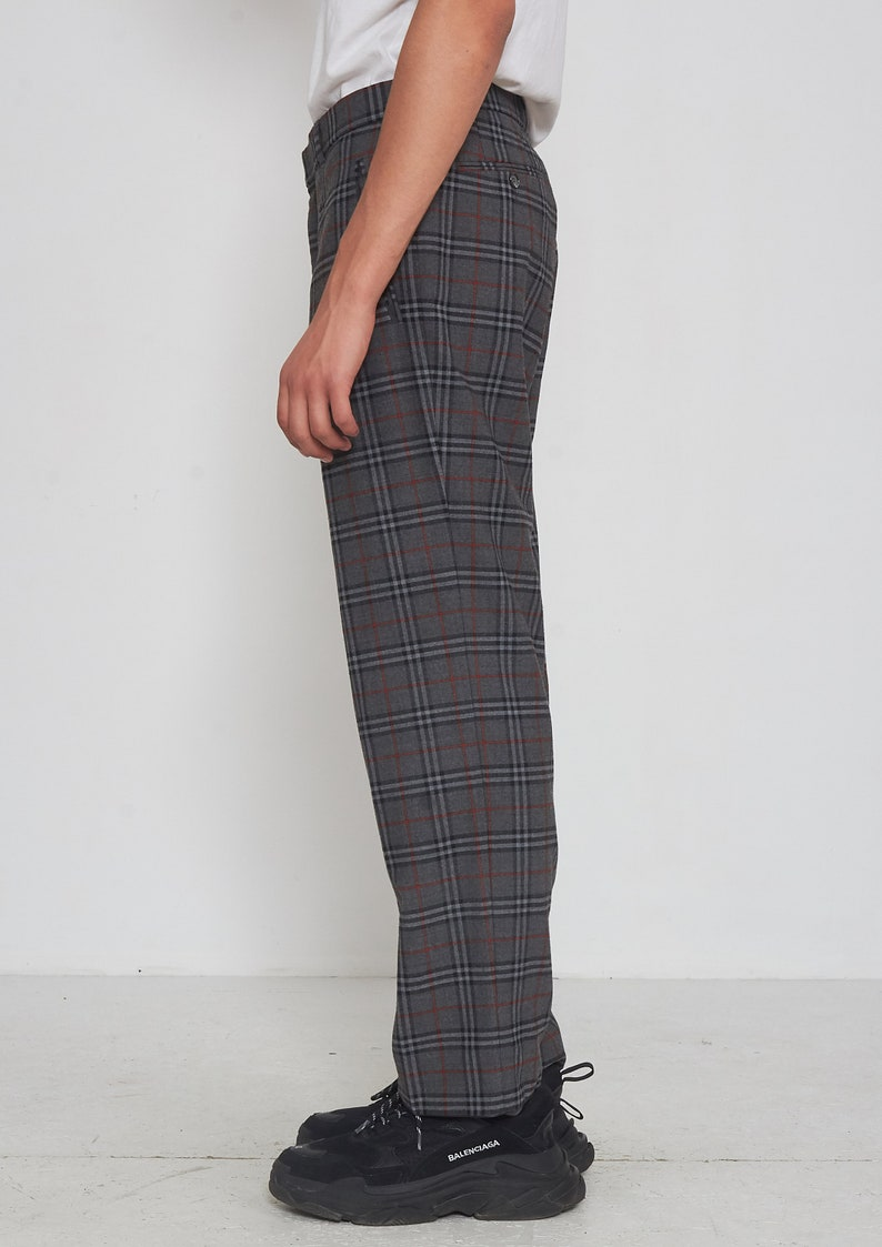 Vintage Grey Checkered Wool Trousers Bottoms Pants Size 24