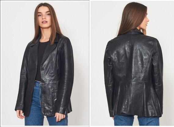 Vintage Black Leather Jacket Blazer/ Size M