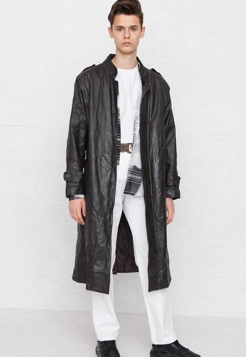 4ef1e7b442fe Vintage Dark Brown Leather Coat  Size Large