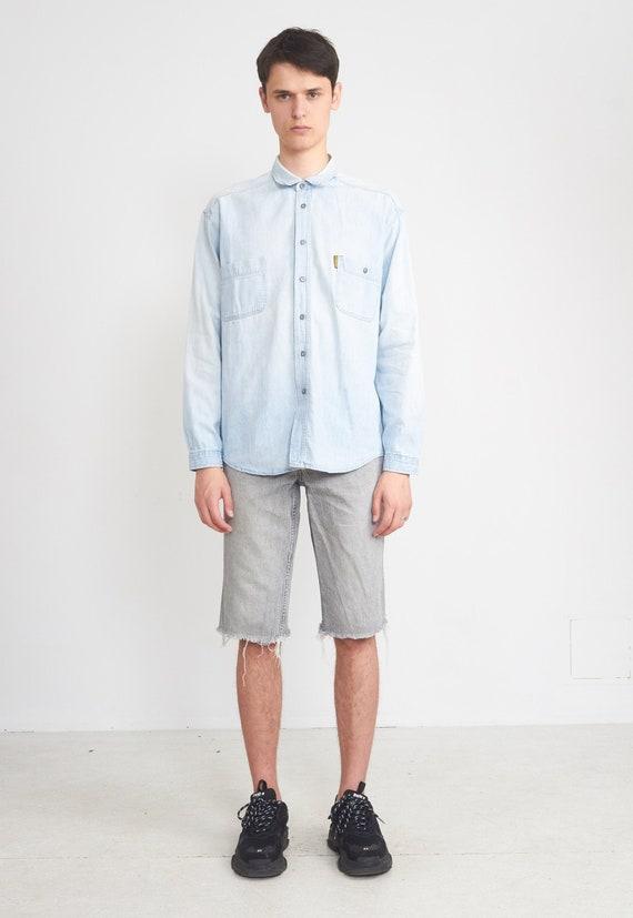 Vintage Light Blue ARMANI Denim Long Sleeve Shirt/