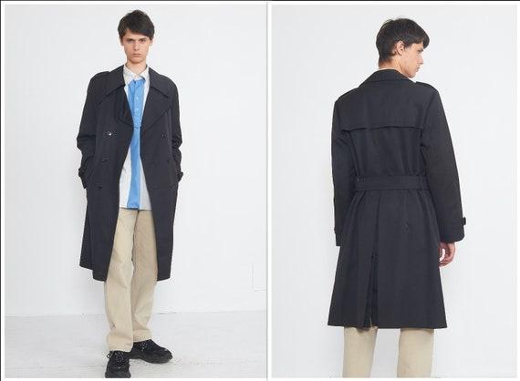 Vintage Black Trench Coat/ Size 54